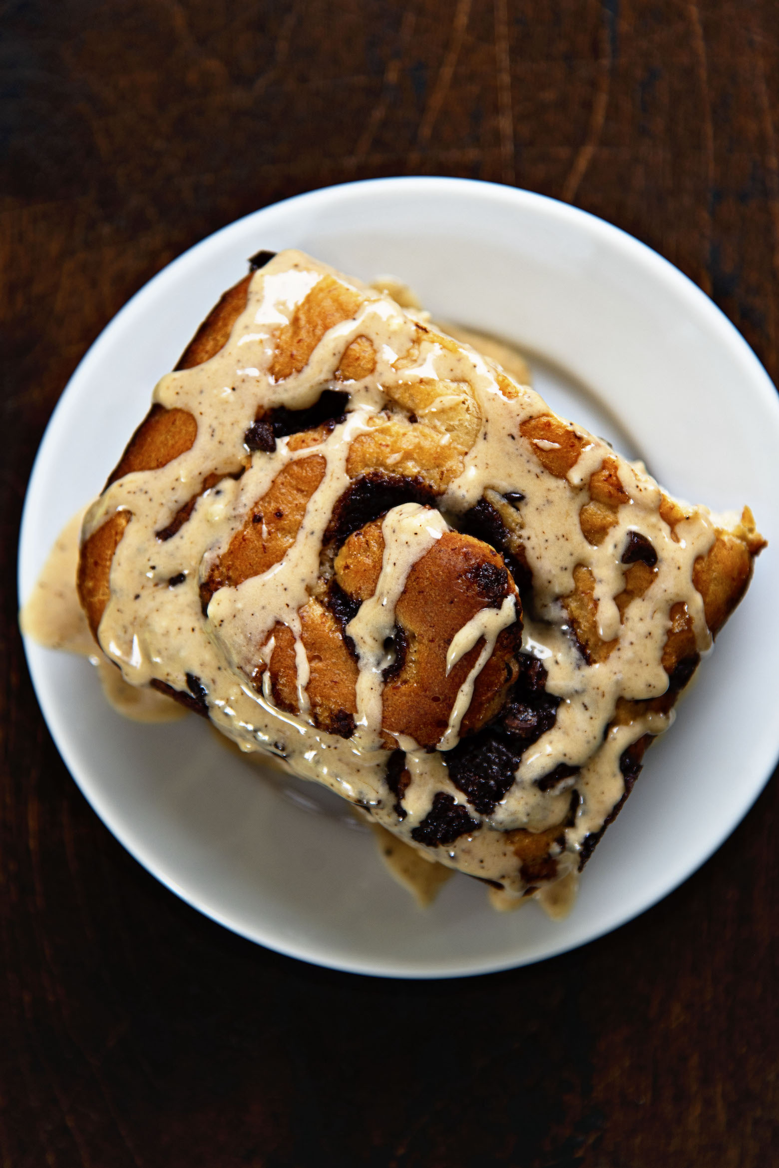 Overhead view of Banana Espresso Chocolate Sweet Rolls on a plate