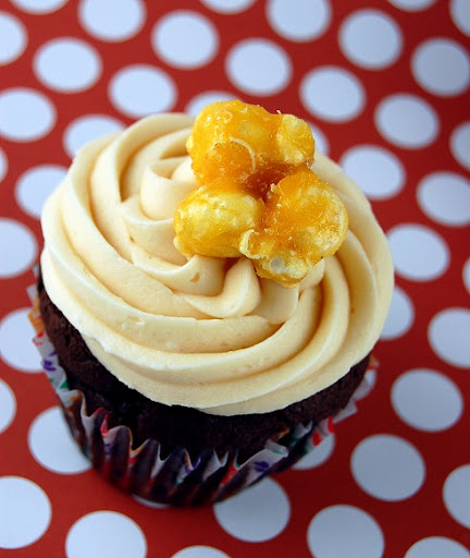 Caramel Corn Infused Devil's Food Cupcakes with Caramel-Caramel Corn Buttercream Frosting