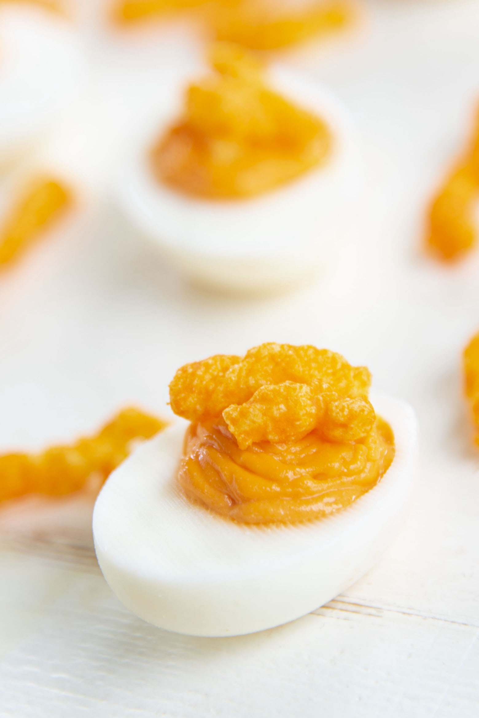 Close up of Cheetos Deviled Eggs