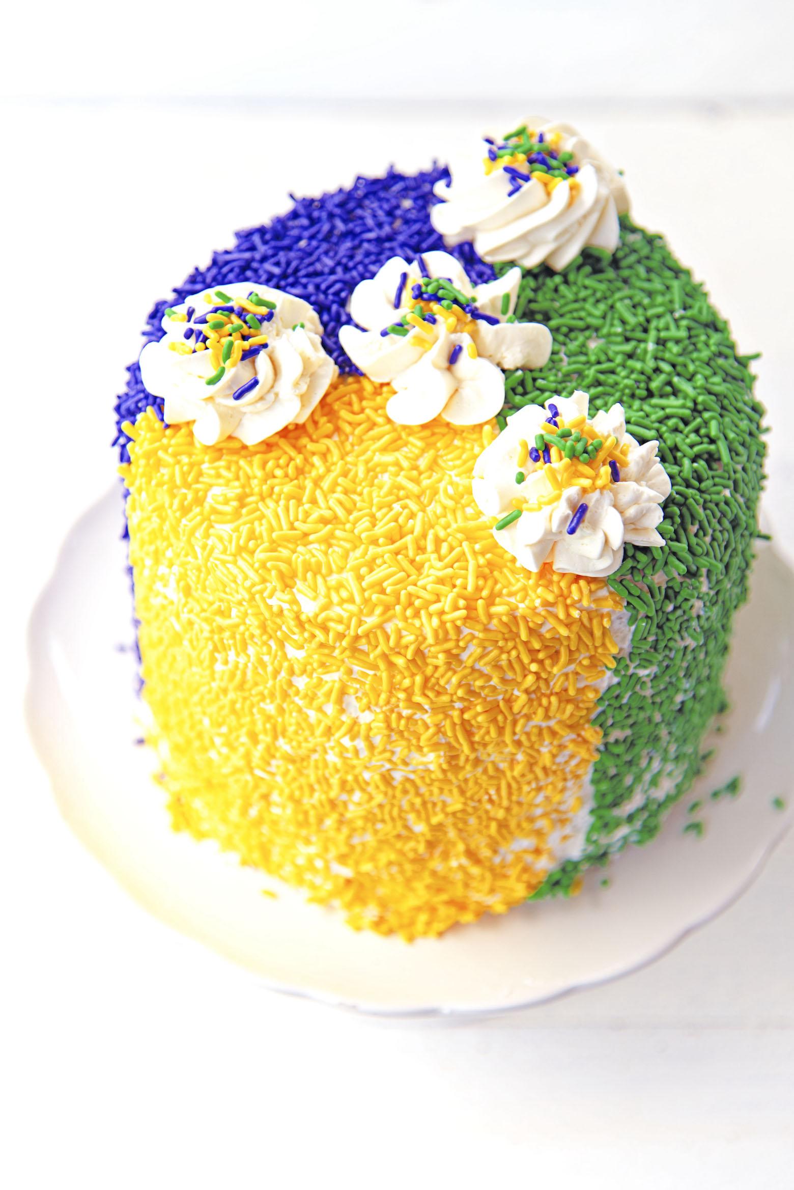 Full King Cake Layer Cake from overhead shot.