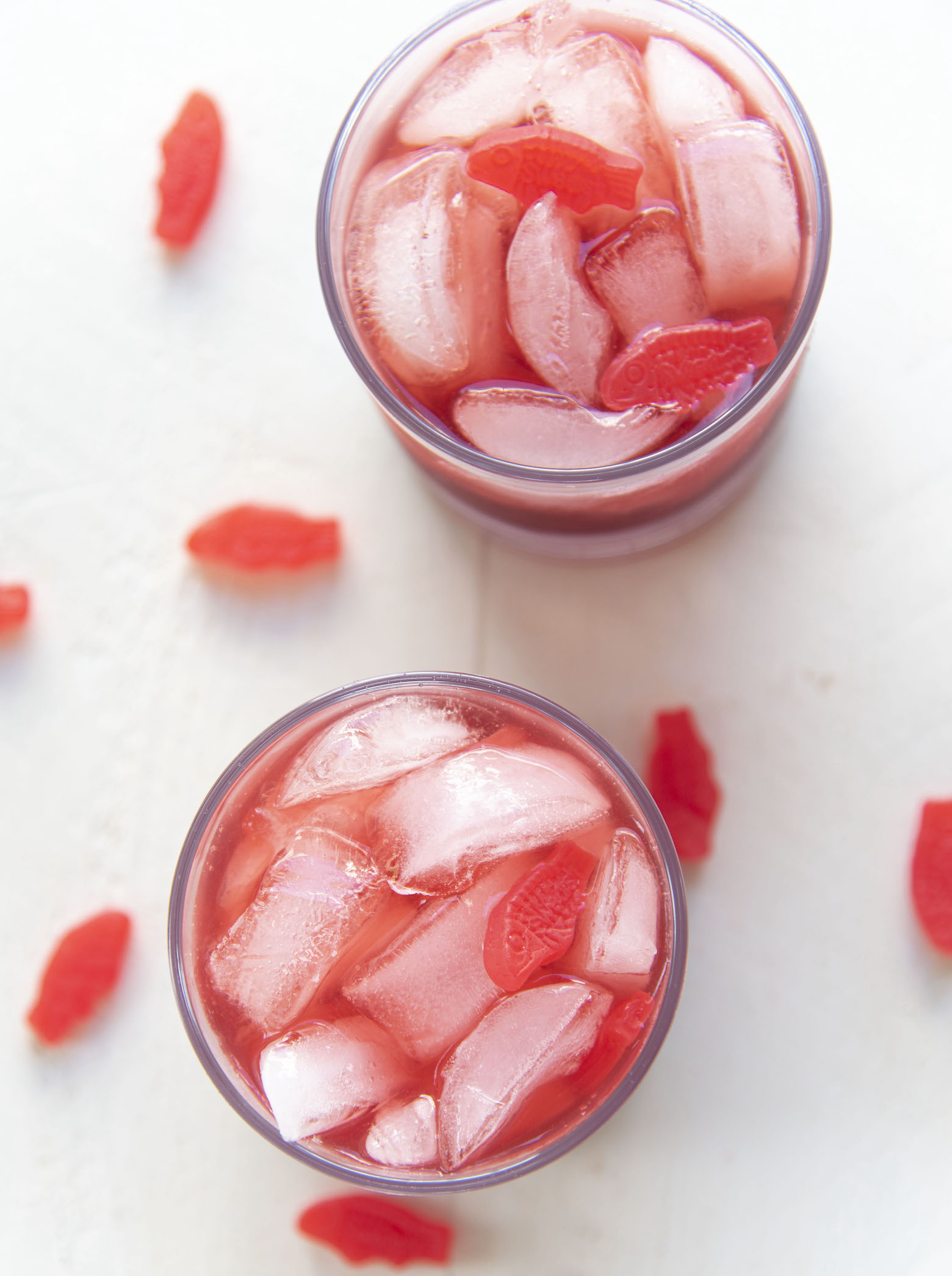 Overhead shot of two Red Swedish Fish Cocktails