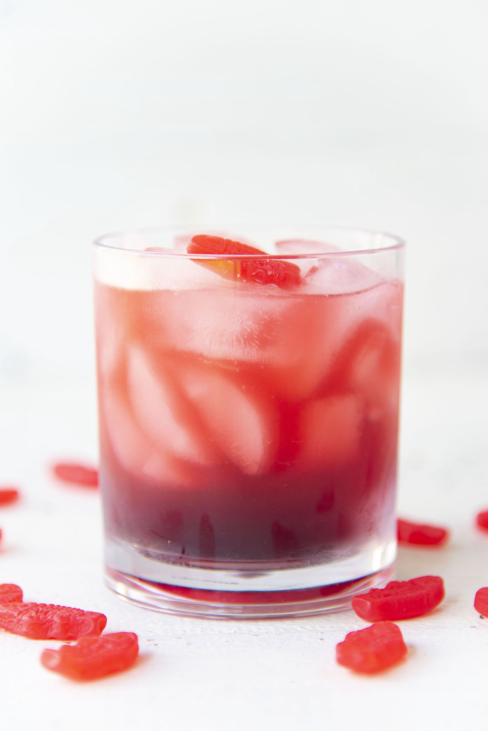 Side view of Red Swedish Fish Cocktail