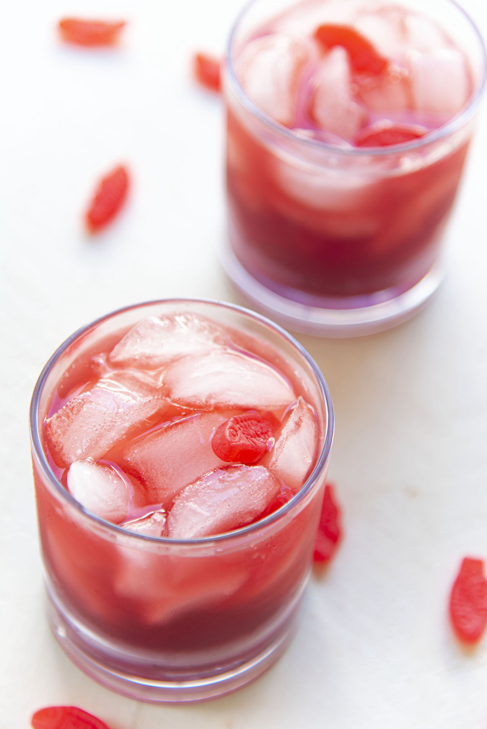 Shot of two Red Swedish Fish Cocktails