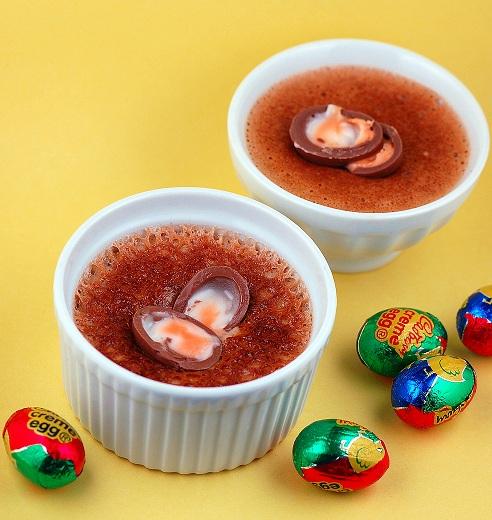 Two Cadbury Crème Egg Creme Brulee  with mini cadbury creme eggs