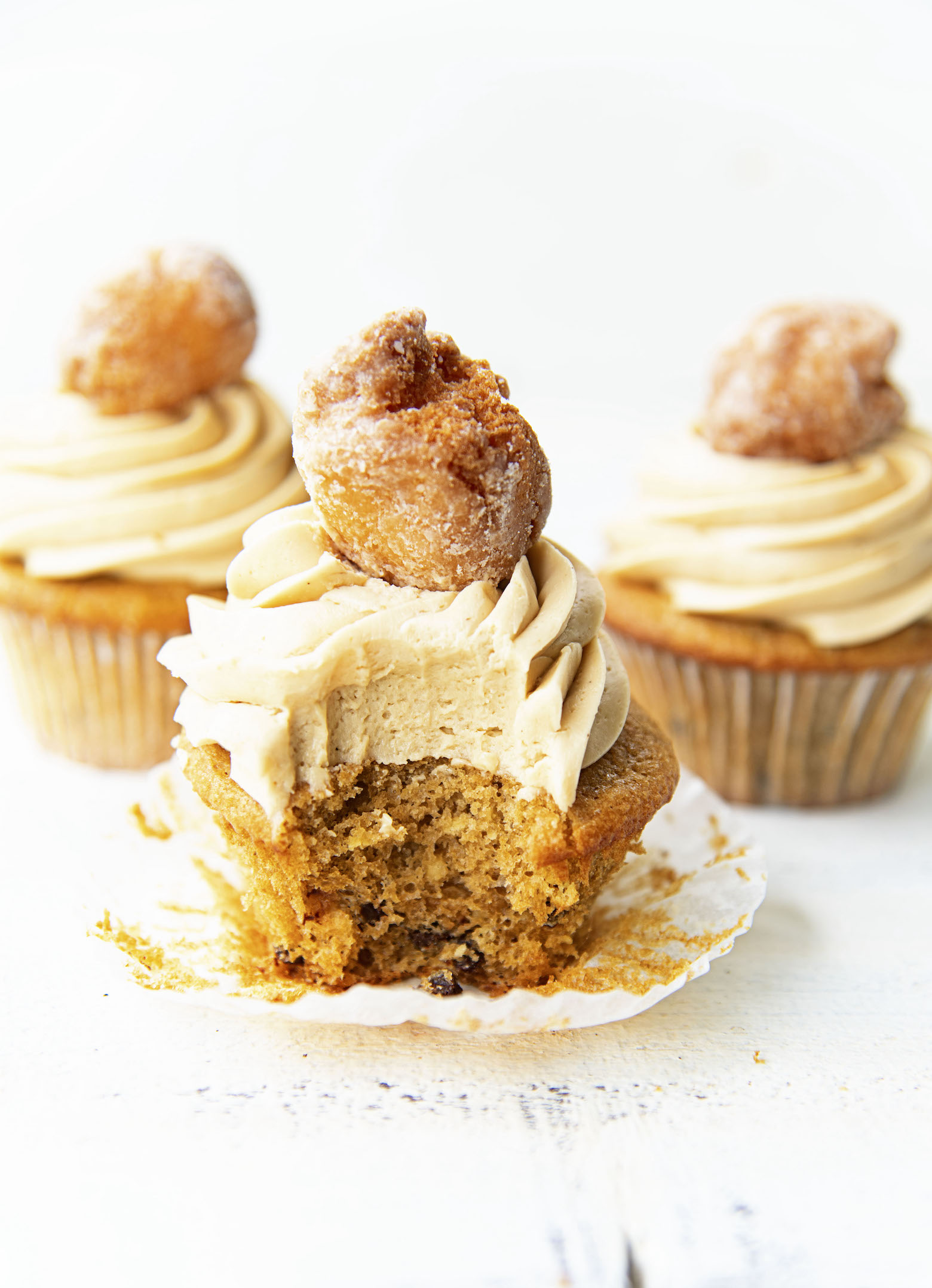 Bite out of Coffee Chocolate Chip and Glazed Donut Cupcakes