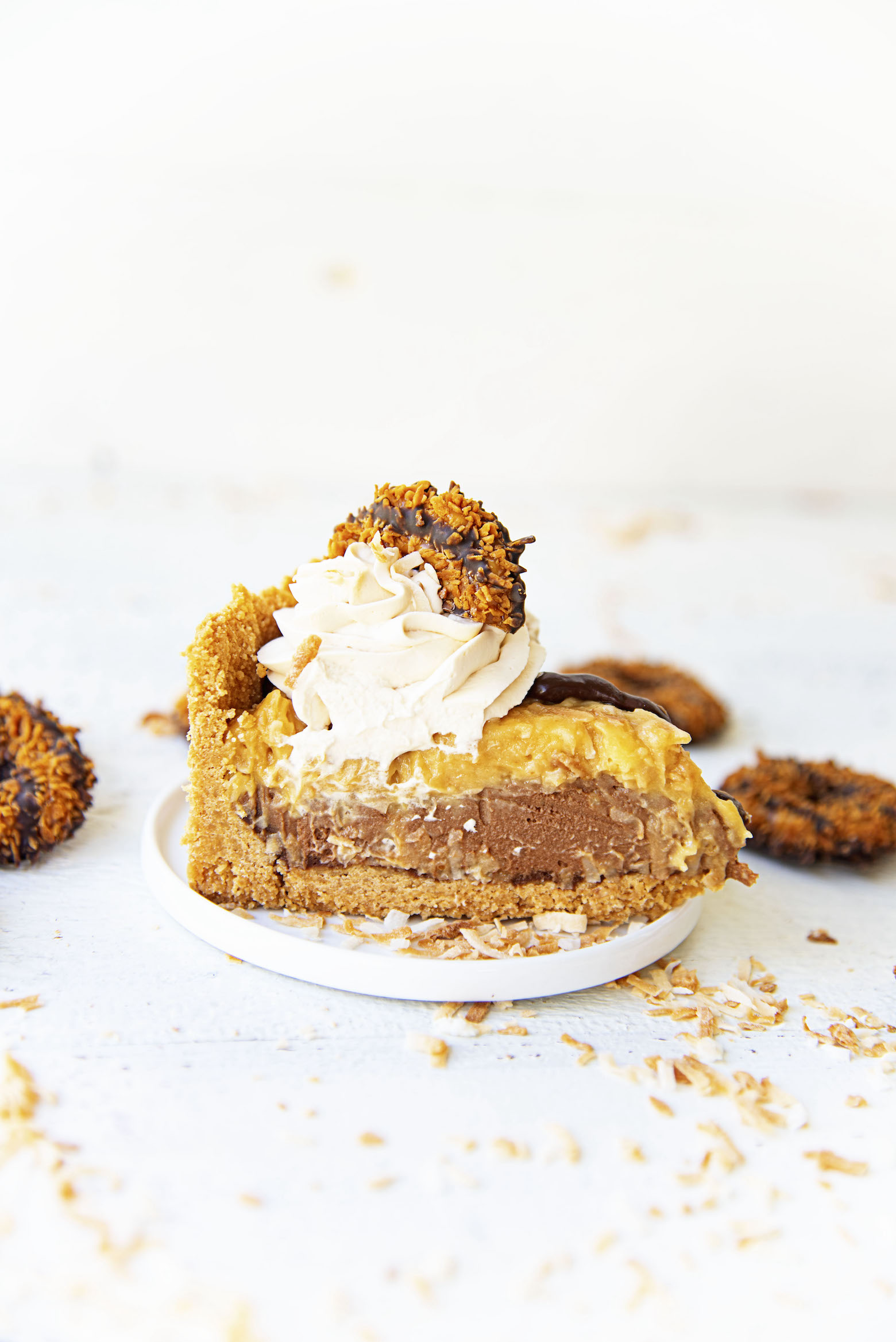 Single slice of the Samoas Chocolate Coconut Cream Pie.