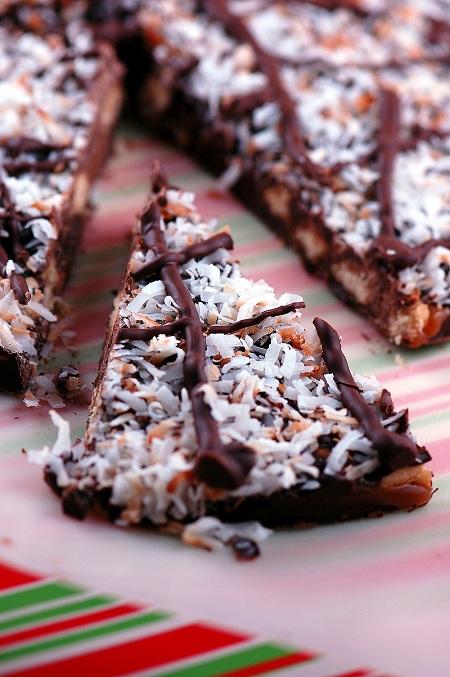 Slice of Samoas Cookie Bark