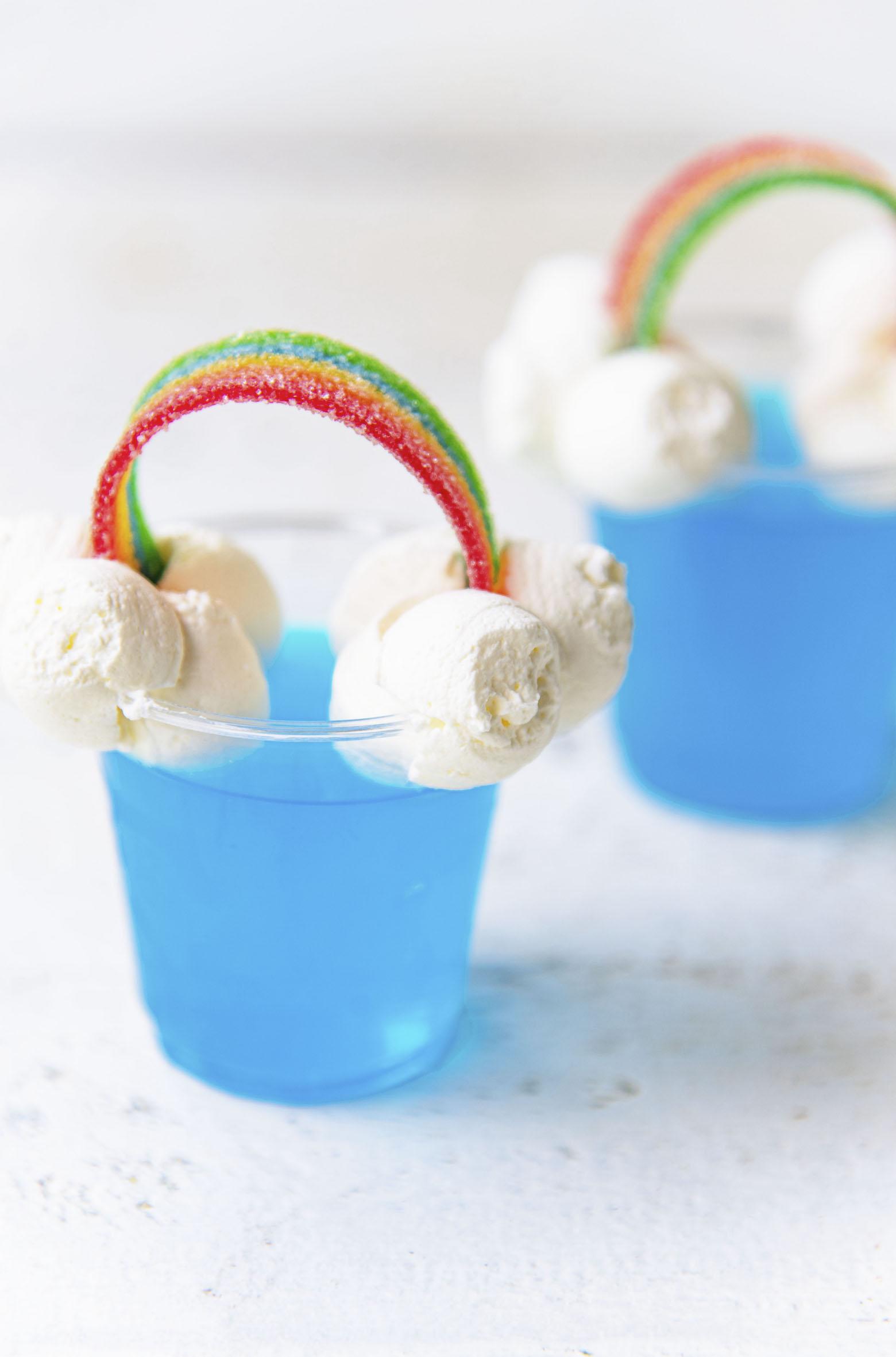 Two Blue Hawaiian Rainbow Jello Shots