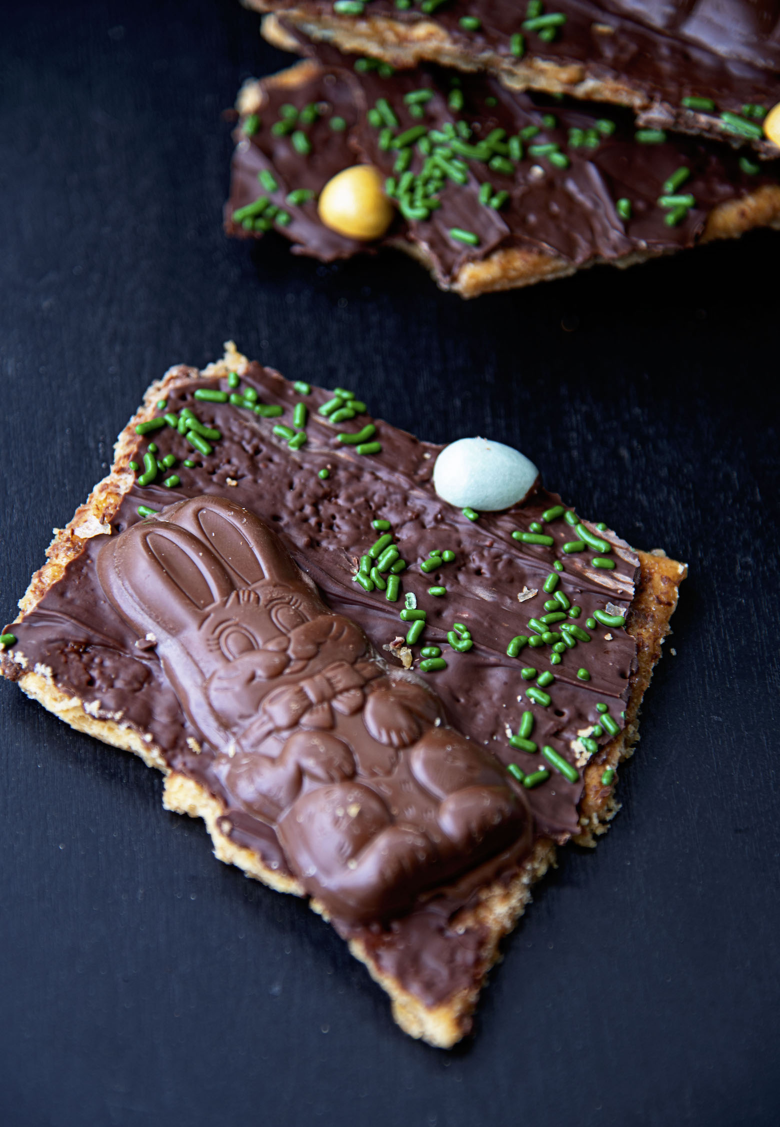 Close up of Easter Basket Cracker Toffee