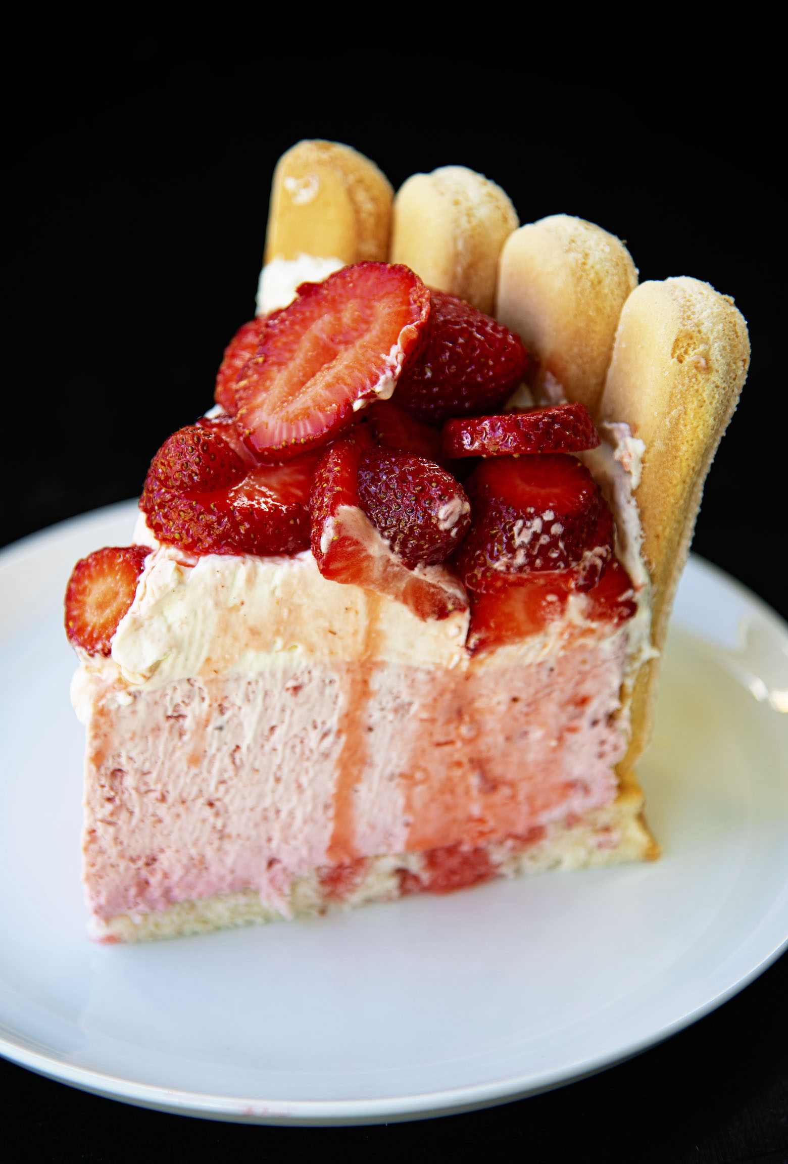 Slice of Strawberry Shortcake Charlotte Russe