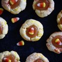 Candy Corn Caramel Thumbprint Cookies #HalloweenTreatsWeek