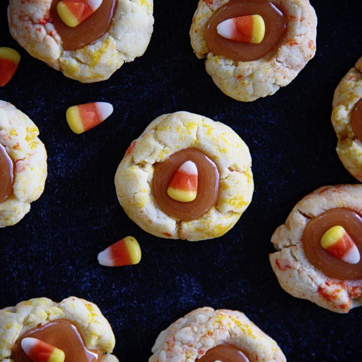 Candy Corn Caramel Thumbprint Cookies